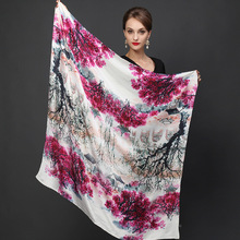2016 winter high quality 100% real silk satin Scarf Shawl wrap women female fashion big square style pattern Scarves  105x105CM