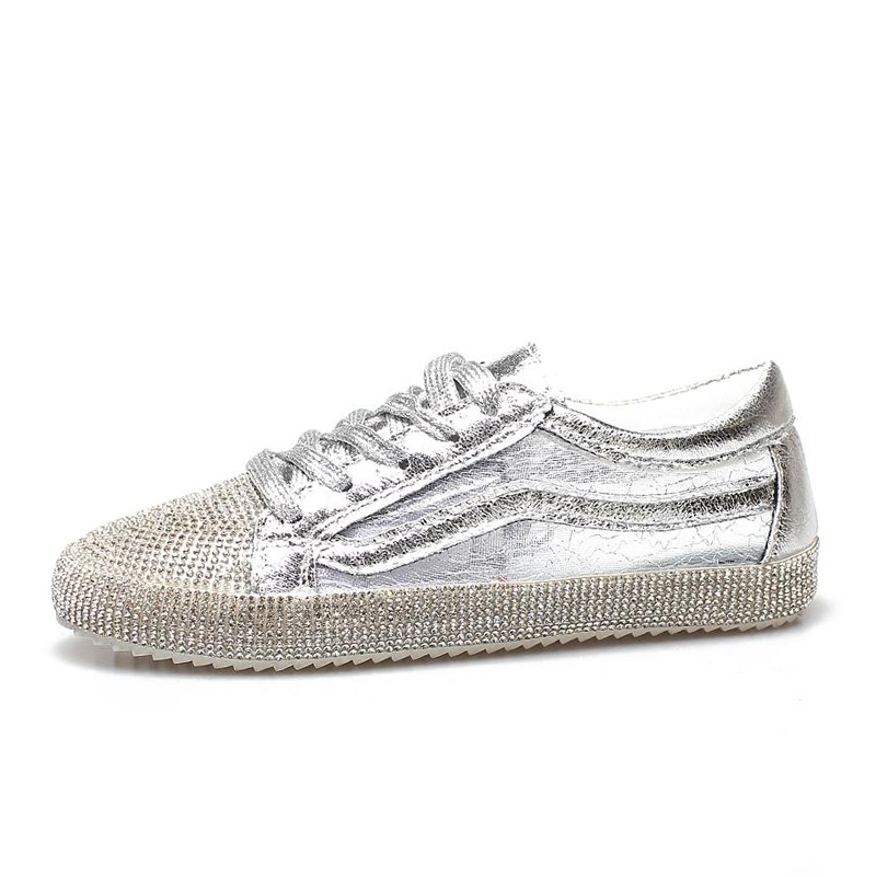 E TOY WORD Womens Sneakers Sequined Casual Shoes 2019 Spring Summer Fashion Breathable Mesh Rhinestone Women Shoes basket femme in Women 39 s Vulcanize Shoes from Shoes