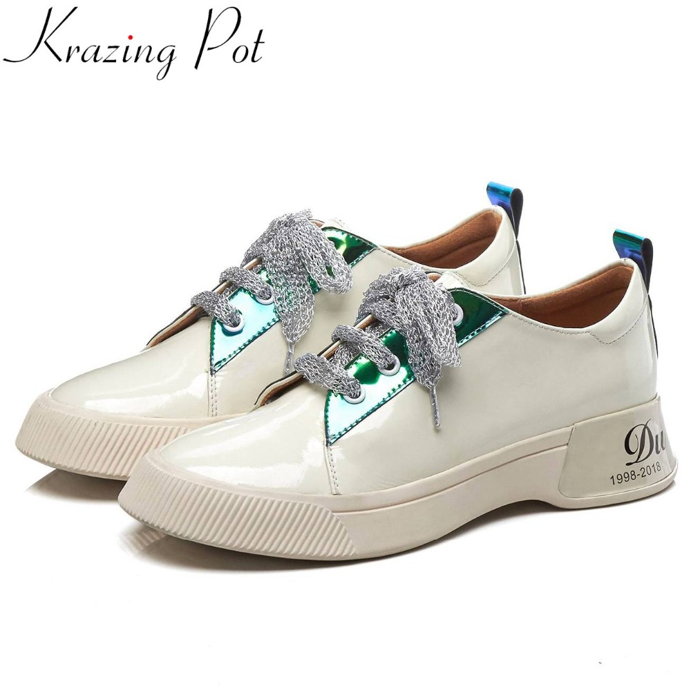 Krazing Pot mixed colors high quality cow leather thick bottom lace up gorgeous European sneakers leisure vulcanized shoes L15-in Women's Vulcanize Shoes from Shoes    1