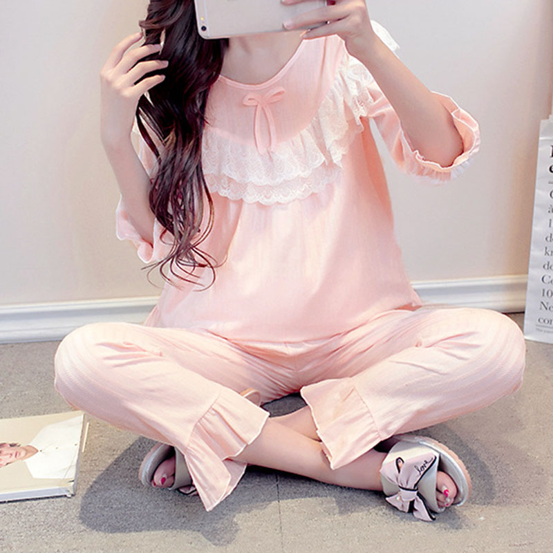 Summer Casual Lace Long Sleeve Nursing Clothes Winter Nursing Pajamas Pregnant Pyjama Breastfeeding Pregnancy Nightgrown A028
