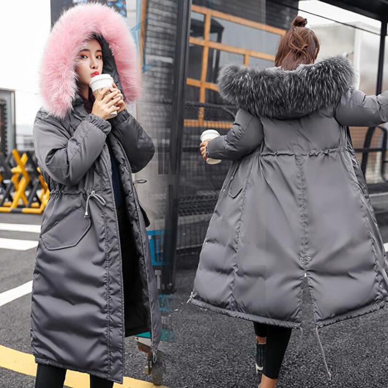 Women parkas mujer 2018 Down Cotton Parkas winter jacket wome Thicken Warm Hooded Padded Long Coat Outwear plus size 3XL