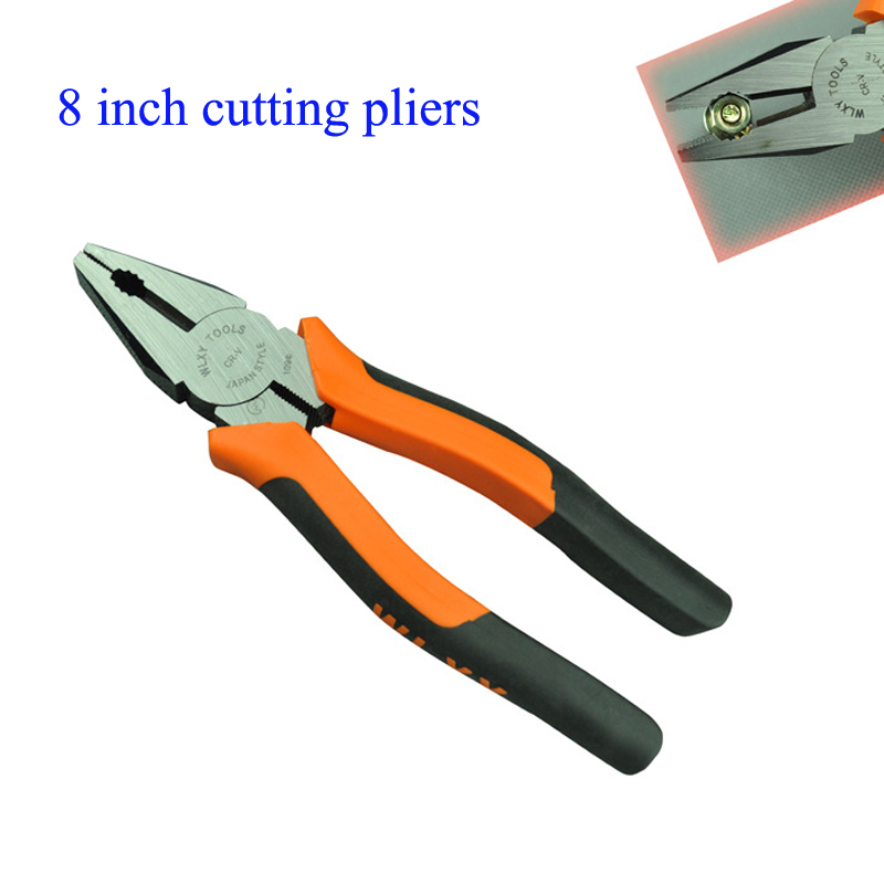 Pincer pliers 8 Inch Cutting Pliers Hand Tools and Orange Black Handle wire-cutter  WLXY brand electrical tool clamp 6 inch cutting pliers hand tools pincer pliers and orange black handle wire cutter wlxy brand electrical tool clamp