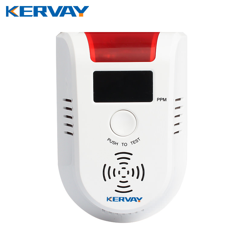 Wall mounted Kitchen 433mhz wireless frequency acousto-optic prompt liquefied petroleum/ coal/marsh /natural Gas Detector Alarm