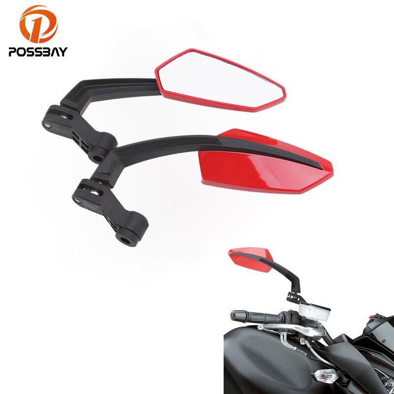 POSSBAY Universal Motorcycle Mirrors Rearview Rear View Mirror For Harley Ducati Suzuki Yamaha R1 Cafe Racer Retrovisor Moto