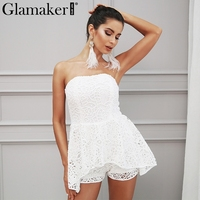 Glamaker White Lace Off Shoulder Floral Jumpsuit Romper Women Elegant Slash Neck Palysuit Summer Sexy Chic