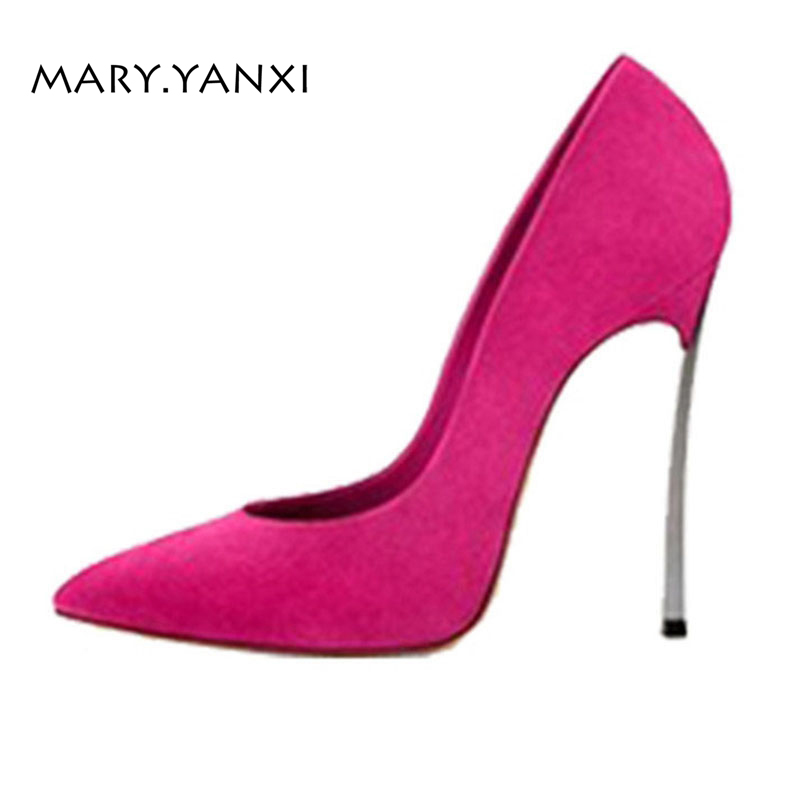 Spring/Autumn Women Pumps Lazy Shoes Flock Nubuck High Thin Heels Pointed Toe Casual Fashion Party Sexy Slip-On Shallow Big Size womens shoes high heel woman pumps spring autumn basic silk slip on pointed toe thin heels sexy wedding shoes ljx04 q