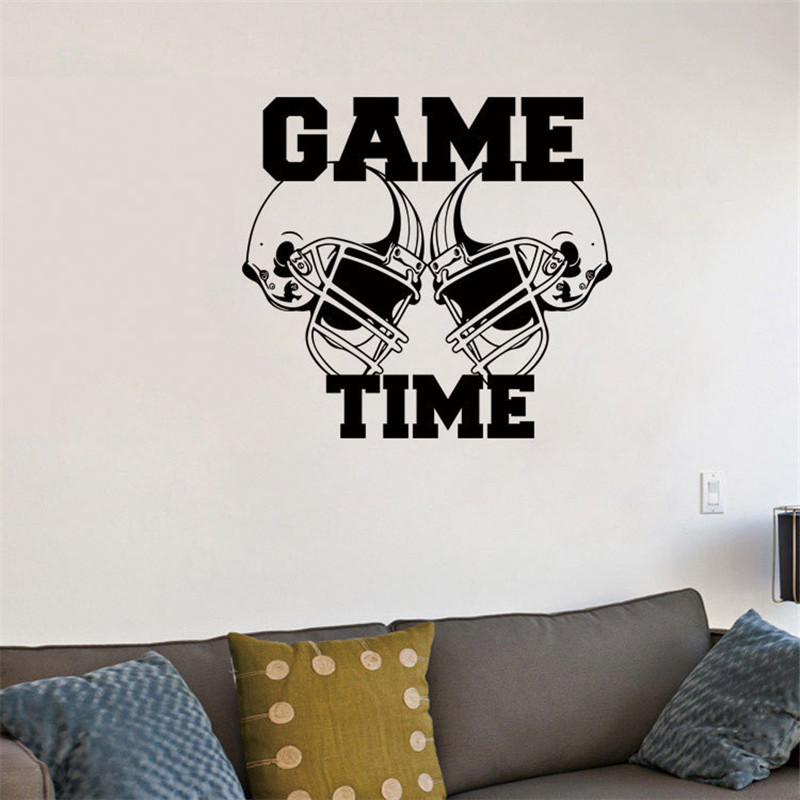 ZM61 Helmets Game Sports Wall Art Decals Creative American Football backdrop Kids Bedroom Vinyl Quote Stickers Home Decor