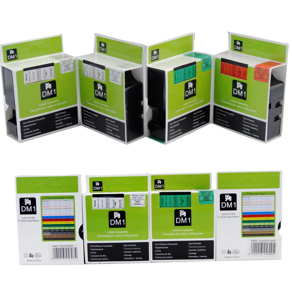 6 stücke Mischen Kompatibel Dymo D1 19mm Label Band 45803 45808 45809 45800 45807 45806 Label Bänder für Dymo label Manager 160 280 210|Drucker-Bänder|   -