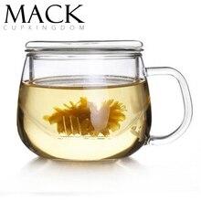 Pandapark Высококачественная стеклянная кружка термостойкая круглая забавная чашка прозрачная с крышкой фильтр ароматизированный чай из трех частей PPX026