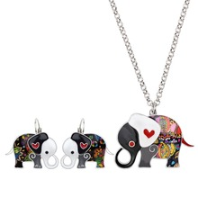 Alloy Cartoon Elephant Earrings and Necklace