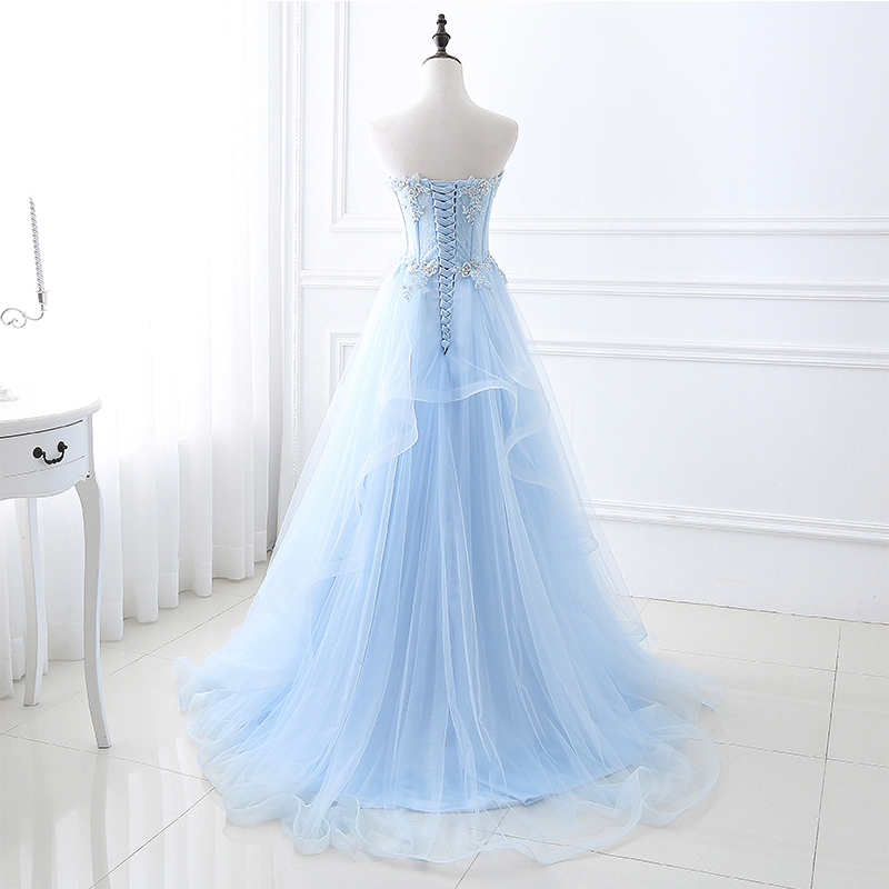 Long Prom Dresses Sheer Bodice Appliques Beading Light Sky Blue Sexy Vestidos De Gala Largos 2019 Cheap Real Photo Evening Gowns