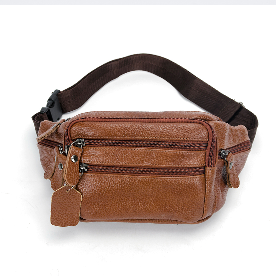 0578a2f451a 100% Cow Genuine Leather Waist Packs Causal Men s Belt Bag Phone Pouch Bags  Small Cowhide