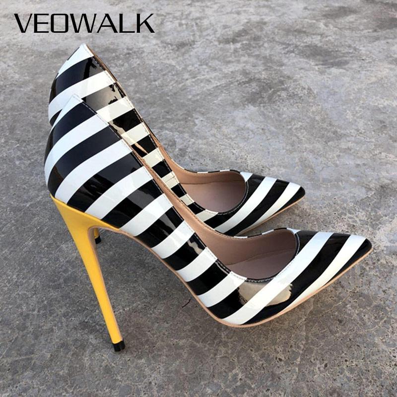 707cd08e9f Veowalk Zebra Striped Women Sexy Patent Leather High Heels Fashion Ladies  Pointed Toe Stilettos Pumps Iconic