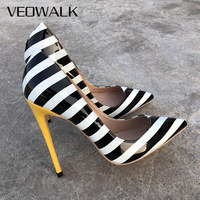 Veowalk Zebra Striped Women Sexy Patent Leather High Heels Fashion Ladies Pointed Toe Stilettos Pumps Iconic African Party Shoes