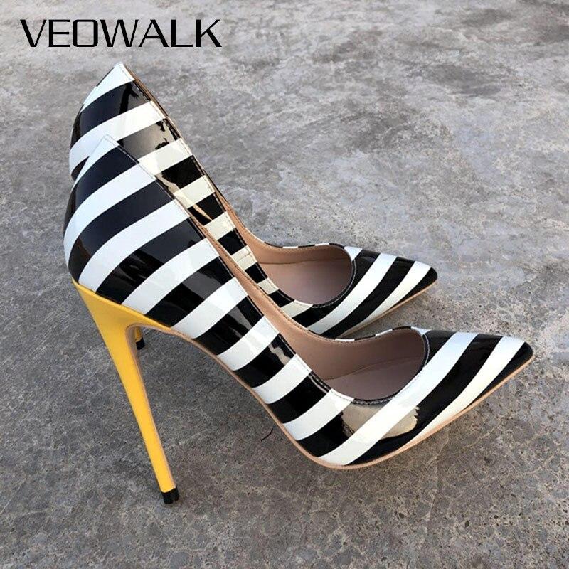 Veowalk rayas de cebra mujeres Sexy charol tacones altos moda señoras puntiagudos Stilettos bombas icónicas zapatos para fiesta de estilo africano
