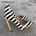 Veowalk zebra listrado feminino sexy couro de patente salto alto moda senhoras apontou dedo do pé stilettos bombas icônico sapatos festa africana