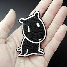 Черная собака Размер: 4,5x7,0 см DIY матерчатые нашивки Mend украшения железа на патч одежда шитье украшения аппликация вышивать на пачках