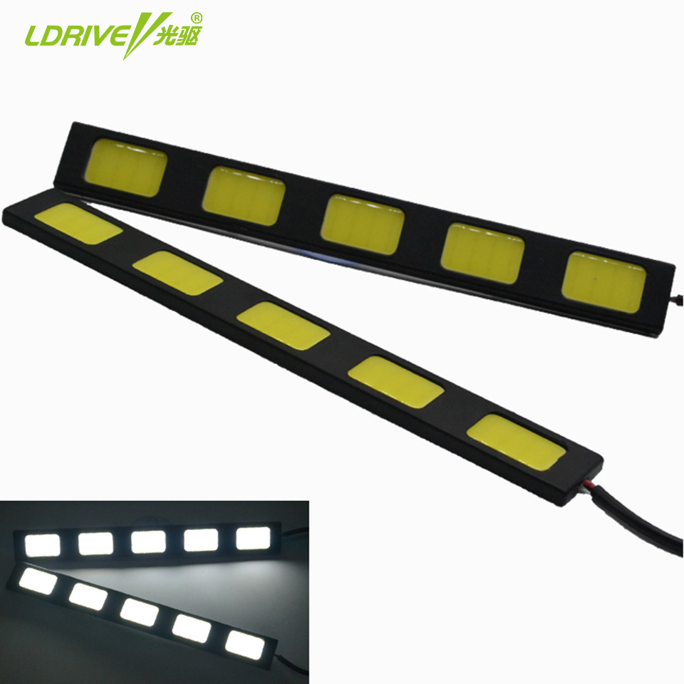 New Style Hot Sale Universal 2pcs/lot Waterproof 5W 6000K-7500K 5 COB LED DRL Daytime Running Light On Cars Auto Lamp For Cars 2pcs set new design drl led daytime running lamp auto cob light 100% waterproof car accessories free shipping