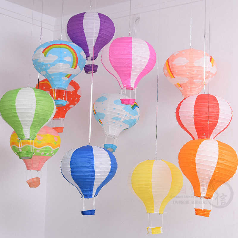 Nieuwe 1 st 14 inch 35 cm Multicolor Hot Air Ballon Papieren Lantaarn Wishing Lantaarns voor Verjaardag Wedding Party Decor opknoping Lantaarns