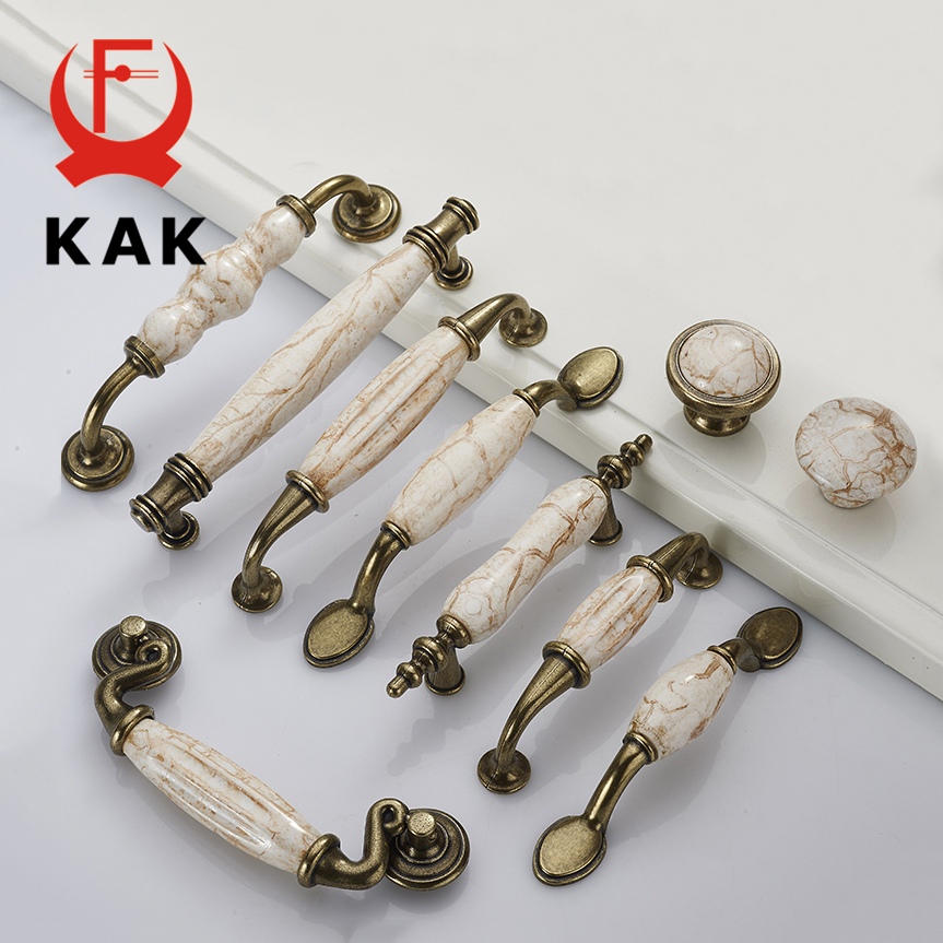 KAK Marble Lines Ceramic Cabinet Handles Zinc Alloy Drawer knobs Wardrobe Door Handles Antique Bronze European Furniture Handle мойка кухонная lava a1 ваниль a1 vnl