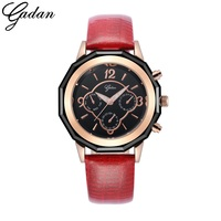 YADAN Women S Wathes 24 Hour Chronograph Red Leather Strap Quartz Watches With Luminous Hands Waterproof
