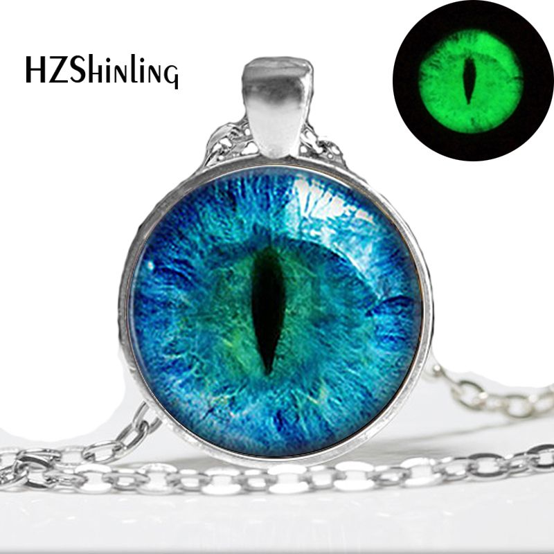 Blue Cats Eye Necklace - Glowing Eye Pendant - Silver lichtgevende Picture Glowing Jewelry Gifts voor Women Glow in the DARK