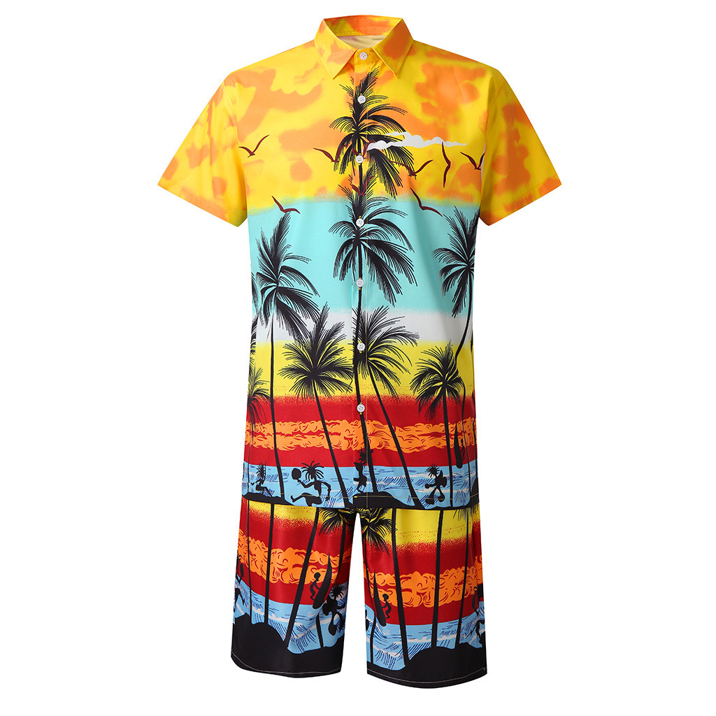 Fashion Men's Set Casual Button Hawaii Print Beach Short Sleeve Quick Dry Suit Mens T Shirts + Short Pants Streetwear Z0605