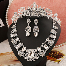 2016 Top quality Shiny Silver Plate Rhinestone Bridal Jewelry Sets Luxurious Crystal Wedding Jewelry sets for Women Accessories