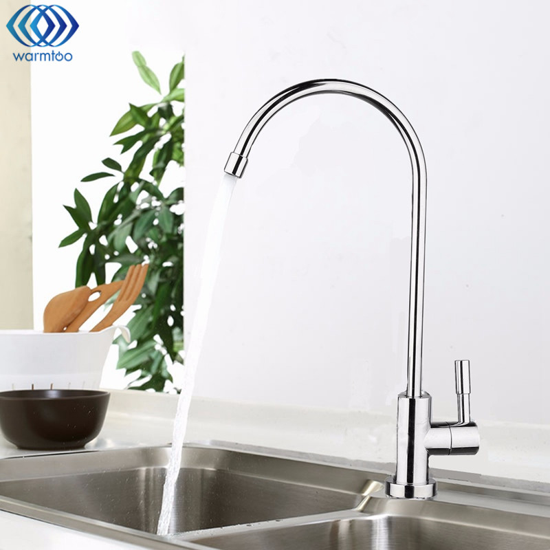 Water Filter Faucet Chrome Plated 1/4 Inch Connect Hose Reverse Osmosis Filters Parts Purifier Direct Drinking Tap Kitchen 2 pcs water filter parts 1 4 tank ball valve for tube quick connect switch water purifier ro reverse osmosis system