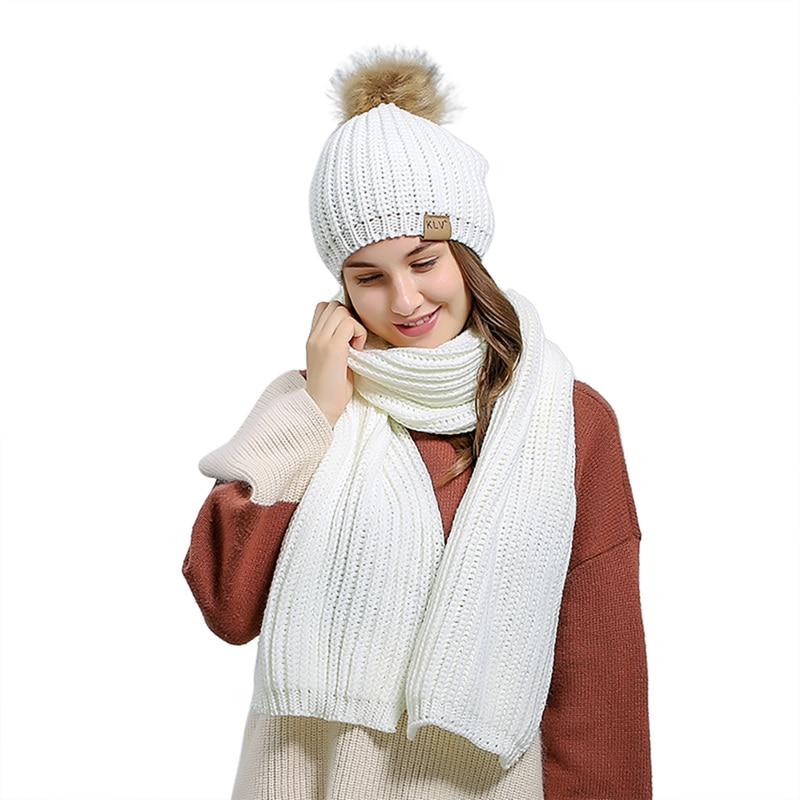 Knit Scarf Hat Set Women Autumn Winter With Hair Ball Diamond Pattern Wool Knit Scarf Hat Set