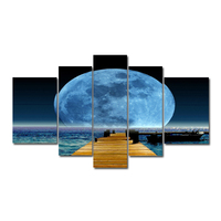 A Moon For The Sky Canvas Wall Art Full Moon On The Sea Deep Blue Night 5 Panels Canvas Prints For Living Room(Unframed)