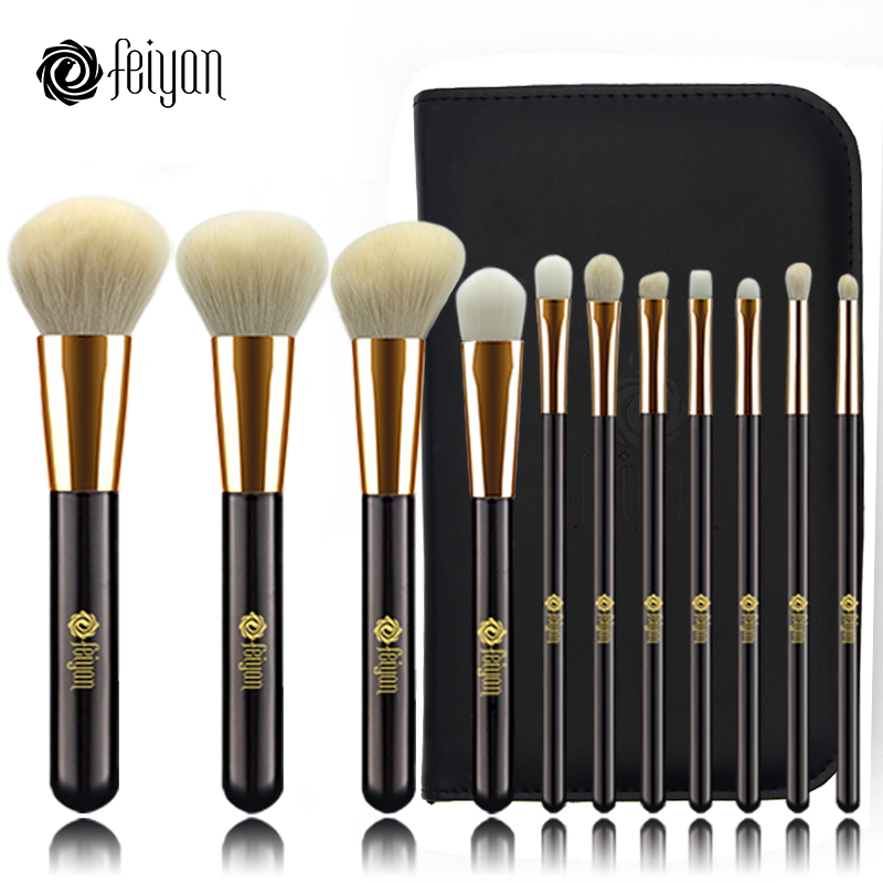 Feiyan Makeup Brushes Set 11pcs Face Foundation Powder Blush Eye Cosmetic brush Kit Professional natural goat hair With Bag Case fish shaped ombre handle eye brush 11pcs