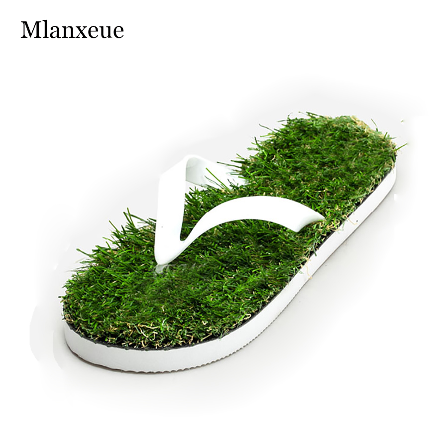 2016 New Lovers Imitation Grass Men Flip Flops For Men Summer Beach Flip Flops Flat Shoe Out Sandals Slipper Sandalias Mujer creative 3d print designer shoes men s beach flip flops casual flat sandals zapatos mujer fashion sandals slipper for men retail