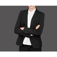 New 2015 Custom made Black Autumn and Winter Fashion Women Pant Suits Work Wear Formal Ladies Business Sets Black Plus Size