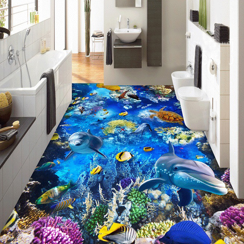 Custom Mural Wallpaper 3D Ocean World Dolphin Turtle Living Room Bedroom  Bathroom Floor Self Adhesive Waterproof Decor Wallpaper