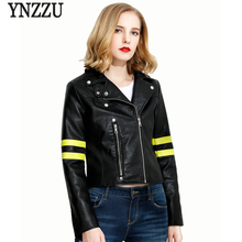 YNZZU 2017 Autumn Women Leather Jacket Chic Striped Vintage Slim Short Leather Coat Outwears Zipper Streetwear YO310