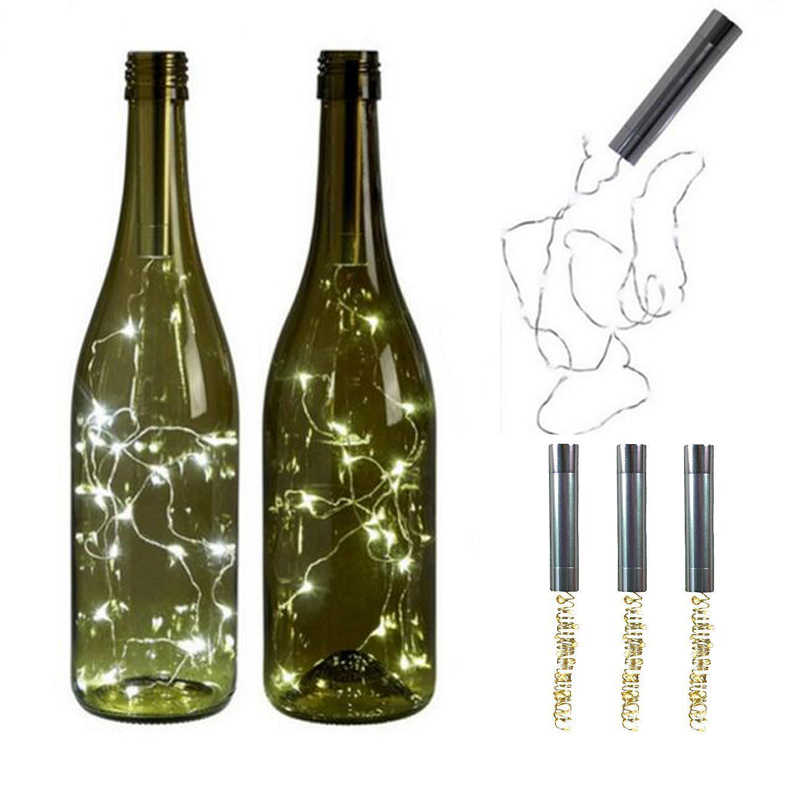 String Lights Silver LED Wine Bottle Lights Battery Powered Cork Shape Glass Bottle Stopper Lamp Christmas Garlands Decor