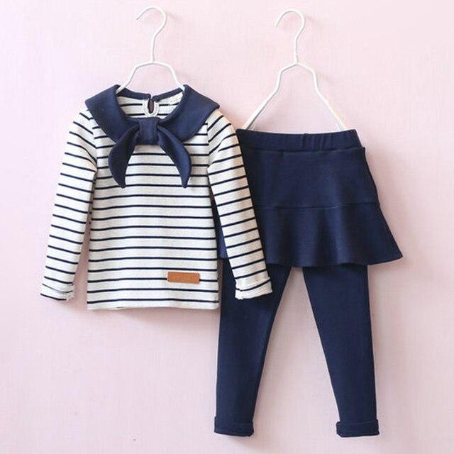 2017 мода новая коллекция весна девушки комплект одежды полоса длинный рукав дети случайно костюм детская одежда наборы