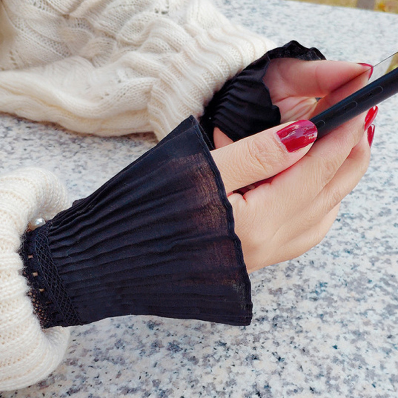 Autumn Gloves Women's Knitting Leisurely Versatile Bowl Lace Black Fall Winter Women Hand Bowl Lace Cuffs Big Wave Hand Bowl
