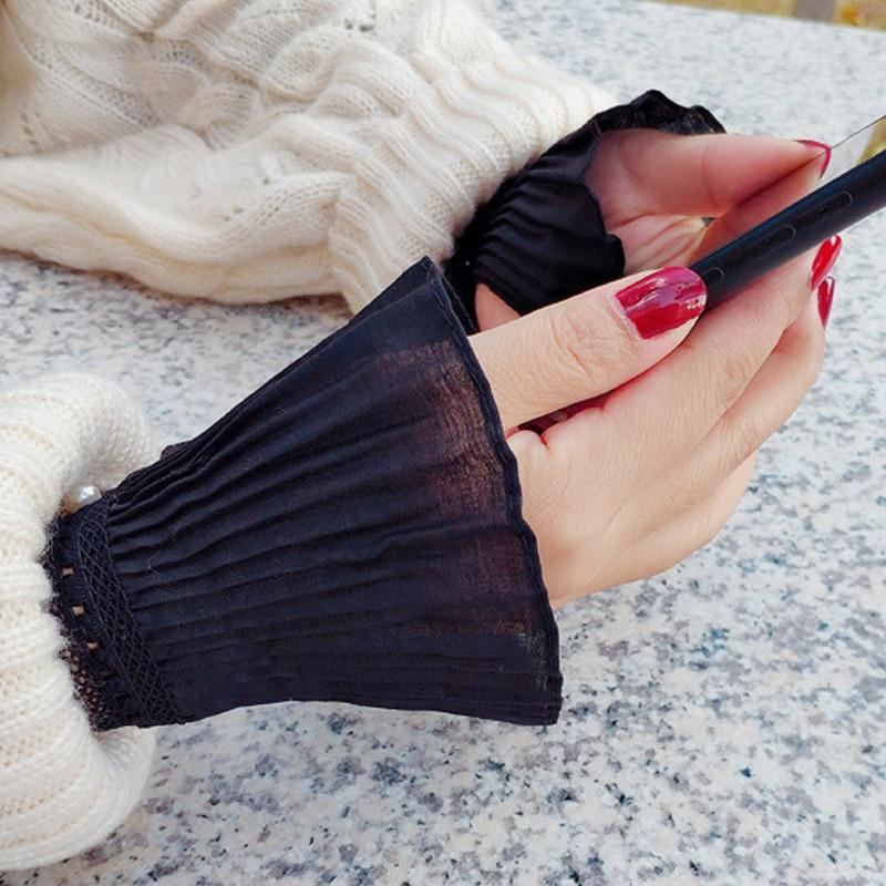 Autumn Gloves Women's Knitting Leisurely Versatile Bowl Lace Black Fall Winter Women Hand Bowl Lace Cuffs Big Wave Hand Bowl
