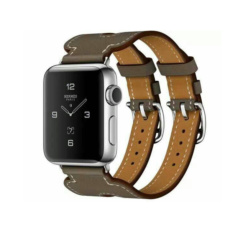 Leather Strap Band For Apple Watch Band 42 Mm Double Buckle Cuff Bracelet Hermes Watch  & Genuine Leather Watchband