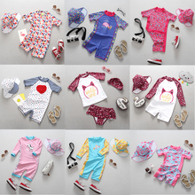 UPF50+ Baby Girl Swimwear Sun Protected Infant Swimsuit One Piece Bathing Suits Kids Swimming Pool Diving Surfing Suit