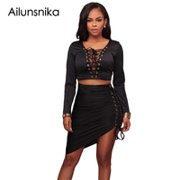 Ailunsnika Sexy Deep V Neck Lace Up Crop Top Two Piece Set Autumn Elegant Long Sleeve
