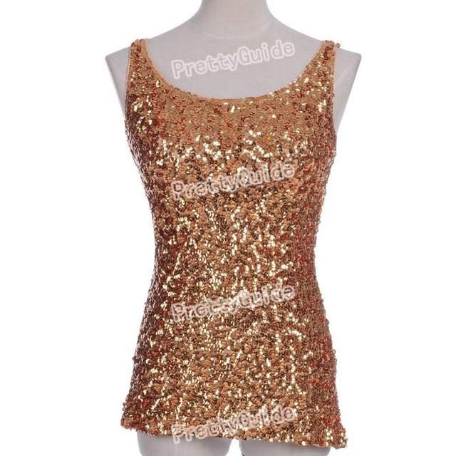 d56e9f09a1a44b Online Shop PrettyGuide Hot Women Bling Bling Shimmer Shine Glam Sequin  Embellished Crewneck Sparkle Tank Club Top Vest Tops 9 Colors