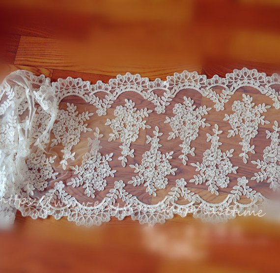 1 Yard Ivory French Alencon Lace Fabric Trim Wedding Veil Bridal Lace Trim Wedding Fabric Lace Bridal Lace Shrug 42cm Wide in Fabric from Home Garden