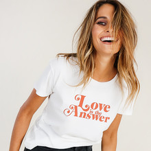 Momoluna Love Is the Answer Letters Print Women Casual Funny T Shirt for