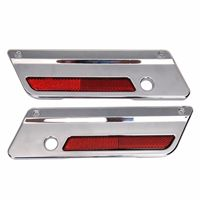 Chrome Saddlebag Plastic Latch Covers Red Reflectors for Harley Touring