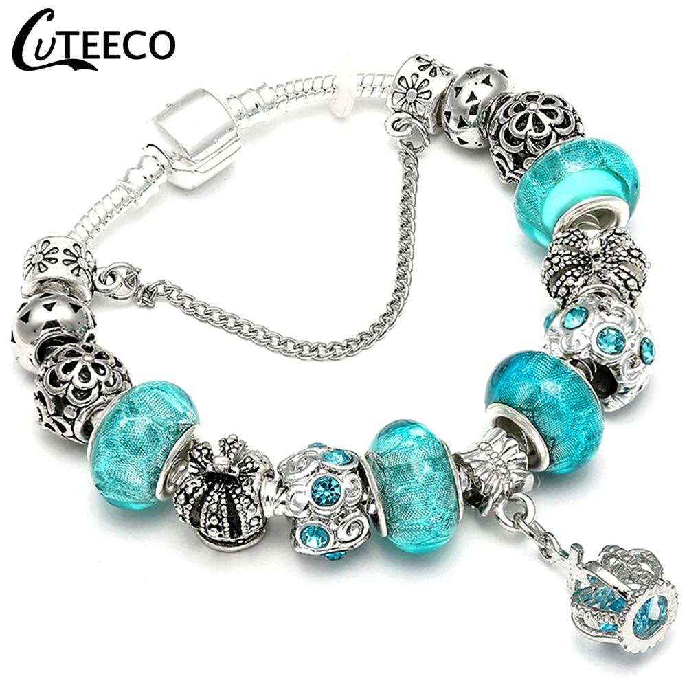 CUTEECO 925 Fashion Silver Charms Bracelet Bangle For Women Crystal Flower Fairy Bead Fit Brand Bracelets
