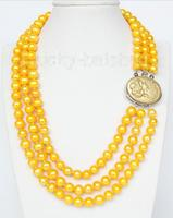 Hot sale new Style >>>>>16 3row Strand 9mm yellow FW pearls necklace cameo seashell clasp j9377