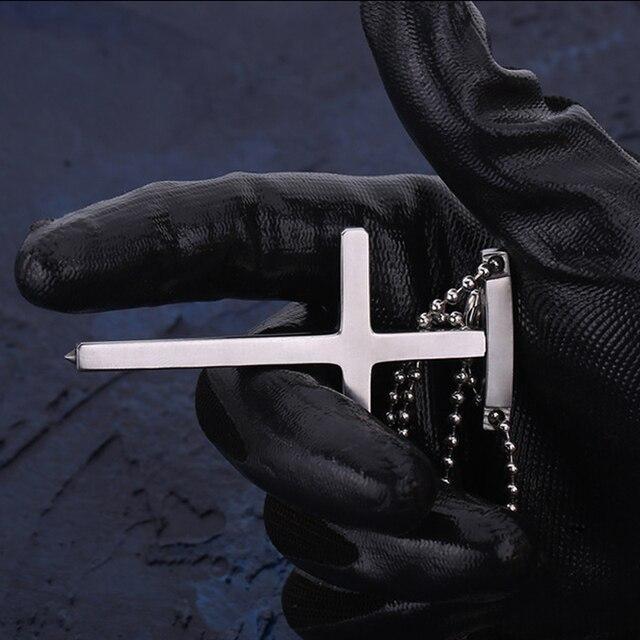 In Stock! Man's Accessories EDC Outdoor Self-defense Pectoral Cross Necklace Window Breaker Portable Tactical Women Anti-wolf 1